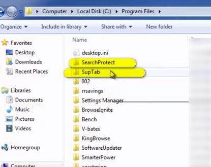 папки SearchProtect и SupTab