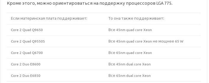 Кроме этого, можно ориентироваться на поддержку процессоров LGA 775