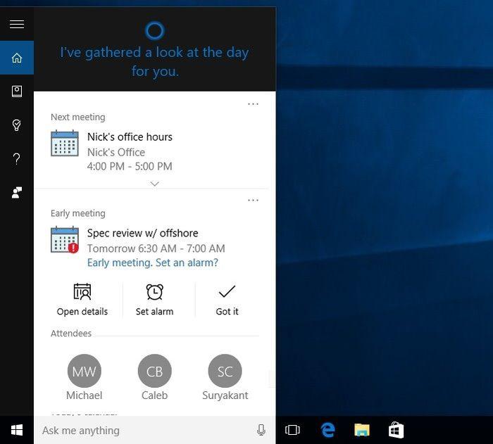 Cortana для Windows 10 получает новые возможности