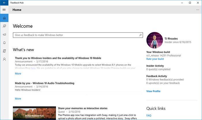Для компьютеров и смартфонов доступна Windows 10 Preview Build 14291, версия для ПК поддерживает расширения