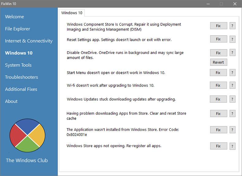 Исправление ошибок Windows 10, с помощью программы FixWin