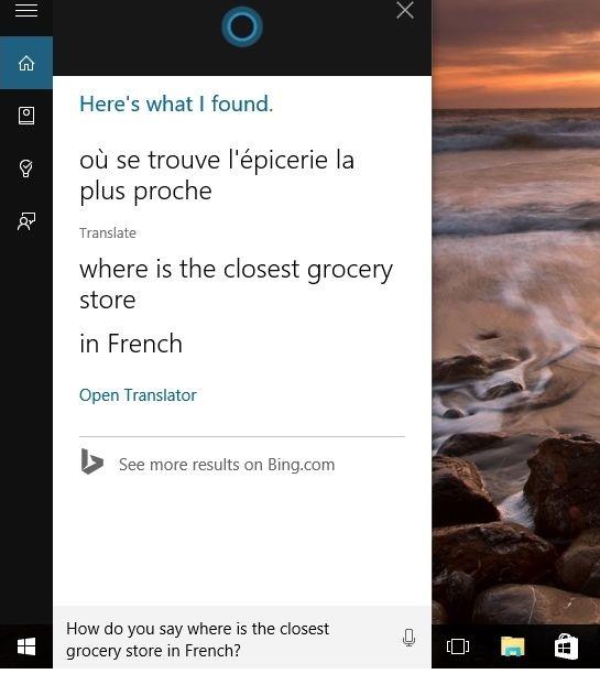 Кортана в Windows 10 теперь выполняет и функцию переводчика