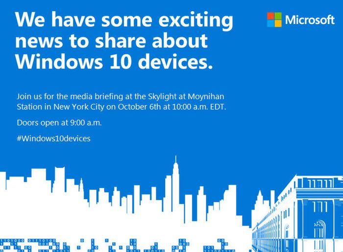 Официально: Новые устройства от Microsoft будут представлены 6 октября