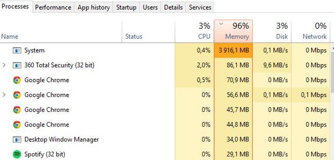Процесс System и высокое потребление памяти в Windows 10