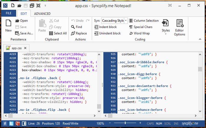 Syncplify.me Notepad – альтернатива Notepad++ с современным, Ribbon-подобным интерфейсом