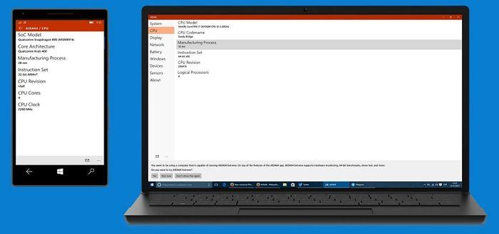 Универсальное приложение AIDA64 для Windows 10 и Windows 10 Mobile