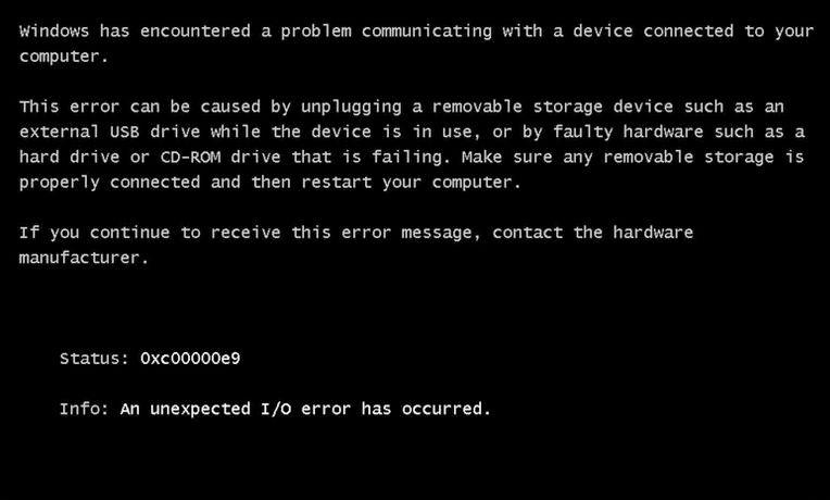 0xc00000e9 состояние ошибки Windows 7 и 8  при запуске