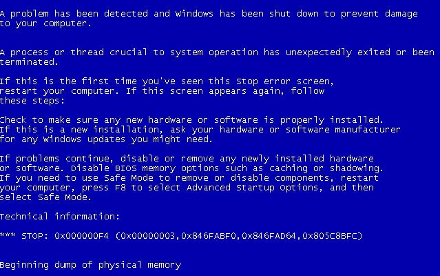 Исправить 0x000000f4 ошибку при синем экране Windows 7 и XP