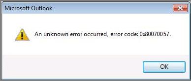 Исправить 0x80070057 код ошибки Windows 7