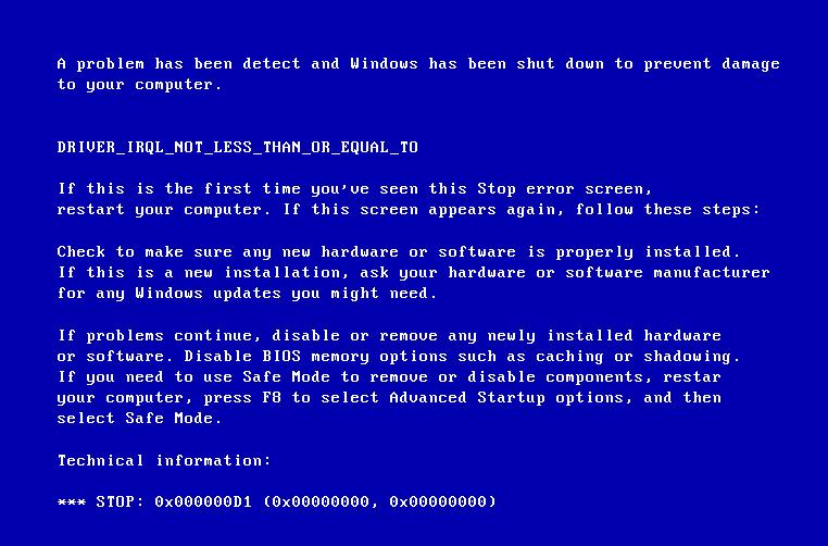 Stop код 0x000000d1 исправляем в Windows 7