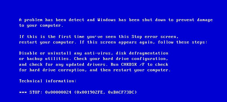 Stop ошибка 0x00000024 исправляем синий экран Windows 7 и XP