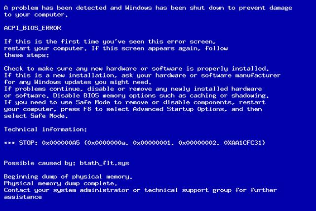 Stop ошибка 0x000000a5 синего экрана Windows 7
