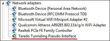 Teredo Tunneling Pseudo-Interface что это такое