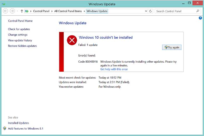 Windows update 80240016 исправить ошибку обновления