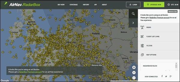 Карта полётов самолётов онлайн в реальном времени