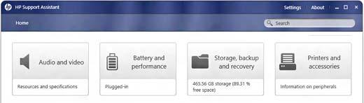HP Support Assistant для обслуживания батарей ноутбука