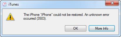 Исправить ошибку 3503 itunes  iphone при восстановлении