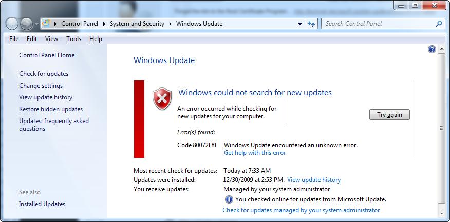 Ошибка 80072f8f исправить в обновлении Windows 7