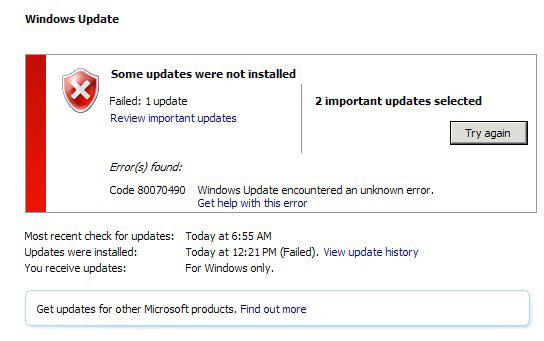 Ошибка кода 80070490 Windows 7 update – сведения о причине