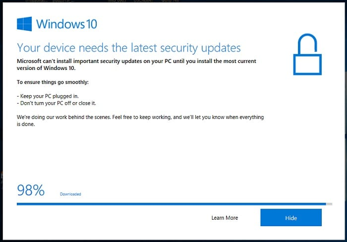 Your device needs the latest security updates в Windows 10
