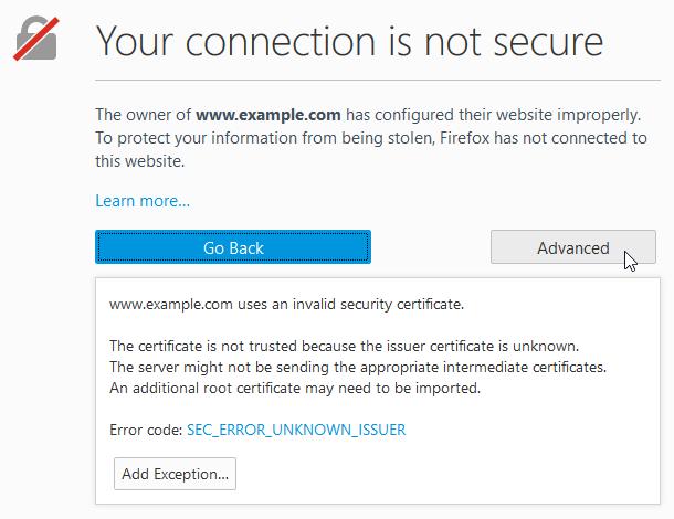 Код ошибки SEC ERROR UNKNOWN ISSUER как исправить в Firefox
