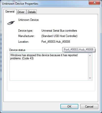Что это такое Unknown Device и как исправить код 43
